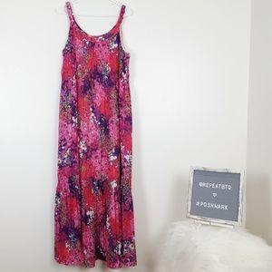 Coldwater Creek Floral Maxi Dress Pink 16
